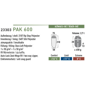 High Peak Pak 600 Sleeping Bag black/red